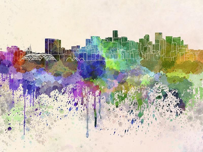 Denver Skyline In Watercolor Background Colorado