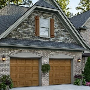 garage door Steel Short panel wood grain