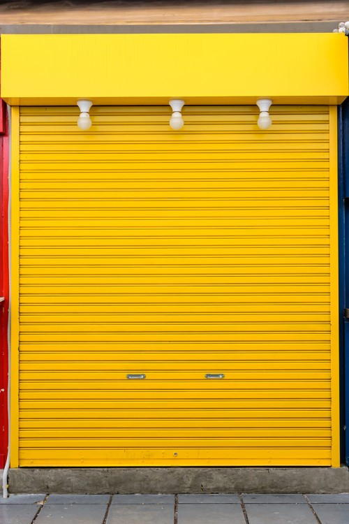 old yellow steel door
