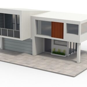 3d model of a modern house with garage