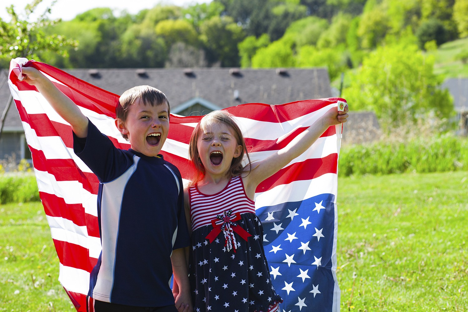 4th Of July Holiday Happy Children With American Flag