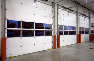 White metal industrial garage doors.