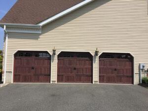 three garage doors