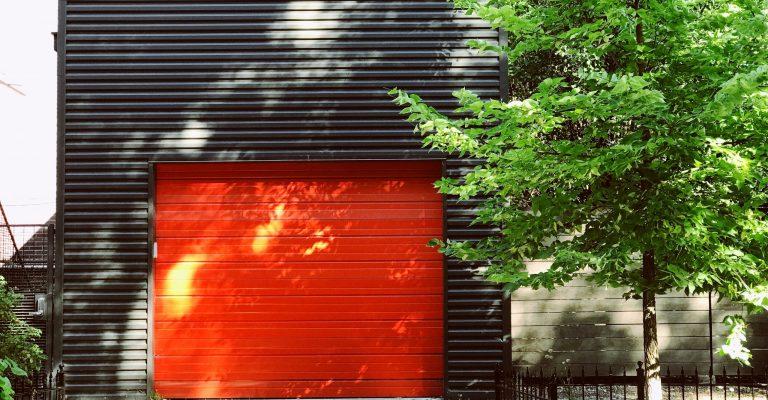 red garage door